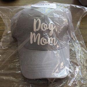 Dog Mom Grey White Baseball Hat NWT